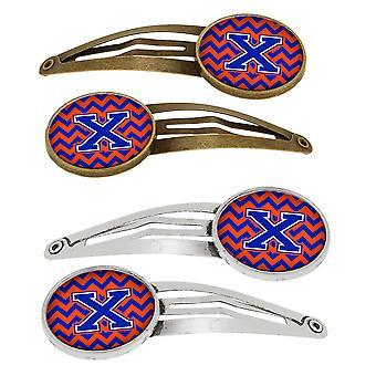 Letra X Chevron naranja y azul Set de 4 pinzas de pelo Barrettes
