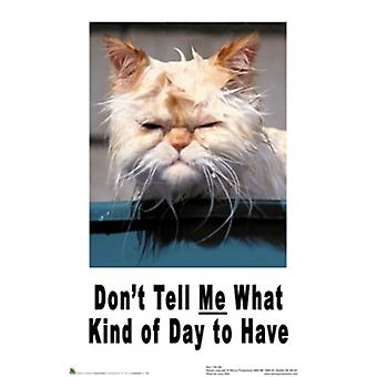 Dont Tell Me What Kind of Day to Have - Cat Poster Poster Print