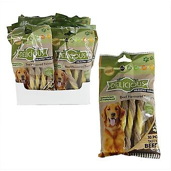 Natural Healthy Dog Treats Meaty Beef Flavoured Twists Dog Chews
