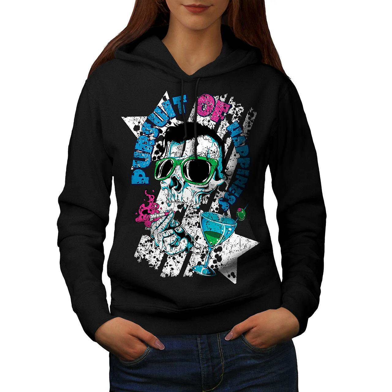 Pursuit Happiness Skull Women Black Hoodie | Wellcoda