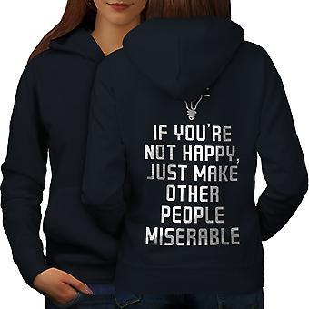 Nicht glücklich Sarkasmus lustig Frauen NavyHoodie Rücken | Wellcoda