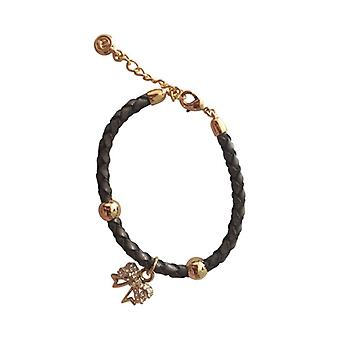 Braided Leather Bracelet With Silver Pendant As0064