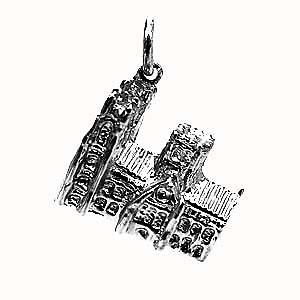 Silver 13x18mm Westminster Abbey Charm or Pendant