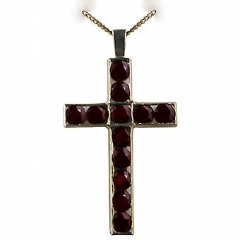 9ct Gold 45x29mm Apostle's Cross set with 12 Garnets with a curb Chain 16 inches Only Suitable for Children