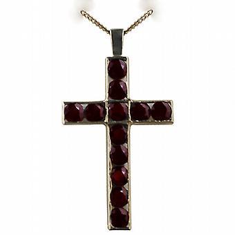 9ct Gold 45x29mm Apostel Kreuz mit 12 Granate mit einem Bordstein Kette 24 Zoll gesetzt
