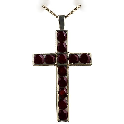 9ct Gold 25x16mm Apostle's Cross set with 12 Garnets with a curb chain