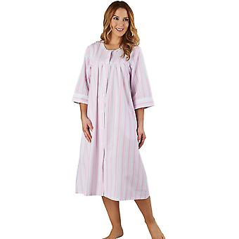 Raya Seersucker bata rosa Loungewear Robe 3/4 longitud manga traje de baño Slenderella HC1226 mujeres