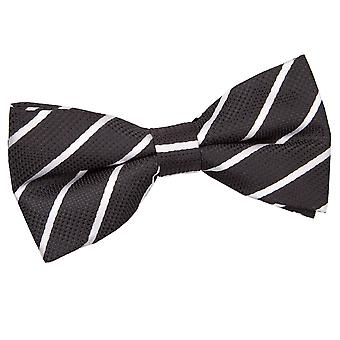 Black & White Single Stripe Pre-Tied Bow Tie