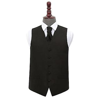 Chaleco de boda negro Paisley y conjunto de corbata