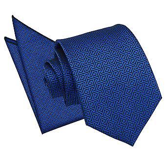 Royal Blue Tie chiave greco & Set Square Pocket