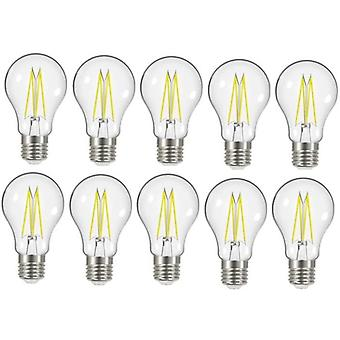 10 X Energizer 8W = 75W LED Filament GLS Light Bulb Lamp Vintage ES E27 Clear Edison Screw [Energy Class A+]