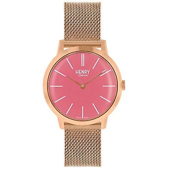 Henry London Iconic Womens Rose Gold Mesh Bracelet Pink Dial HL34-M-0272 Watch