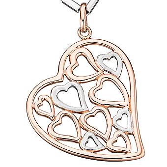 Pendants heart 925 sterling silver gold plated bicolor rose gold heart pendant
