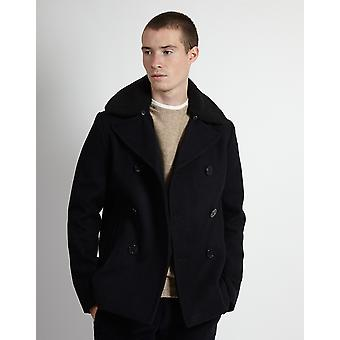 Schott NYC Cyclone Classic Peacoat With Detachable Borg Collar