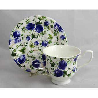 English Bone China Teacup and Saucer Blue Chintz