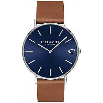 Coach Charles mens brown leather strap blue dial 14602151 Watch