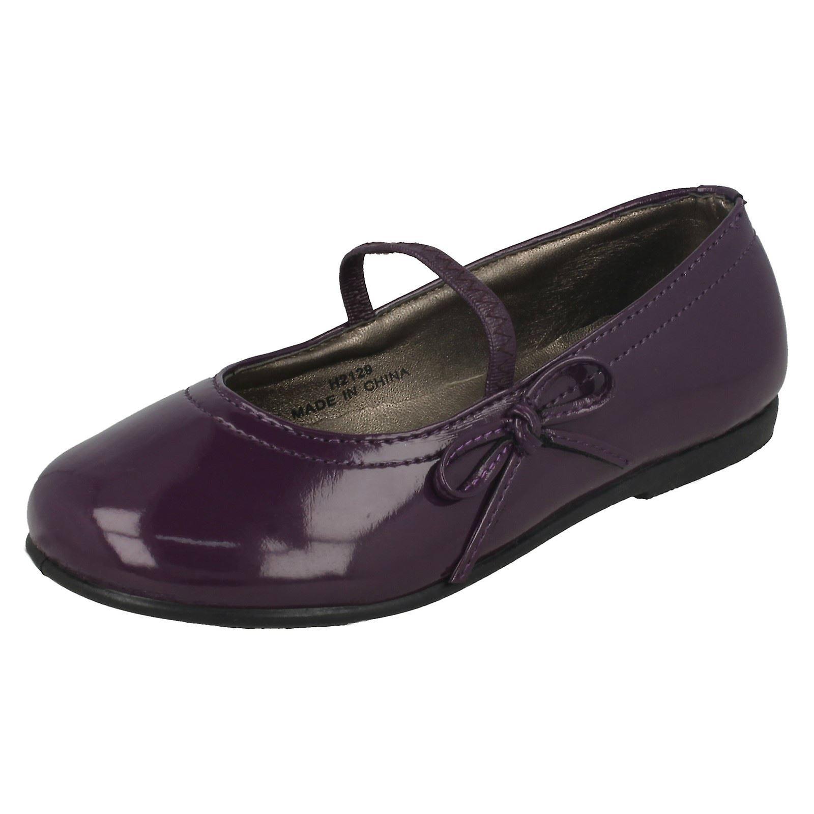 Ragazze Spot su Flat scarpe con fiocco Trim | Materiali Di Qualità Superiore  | Scolaro/Signora Scarpa