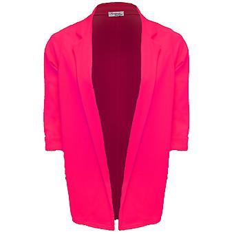 Damen auftauchen 3/4 Sleeve offene vordere texturierte lange Blazer Damenjacke