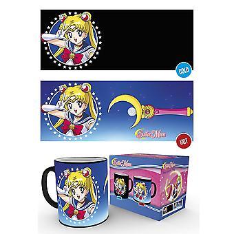 Sailor Moon Tasse Moonstick mit Thermoeffekt schwarz, bedruckt, aus Keramik, Fassungsvermögen ca. 420 ml..