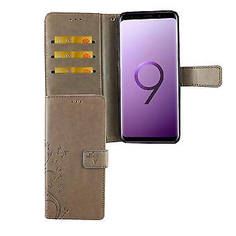 Samsung Galaxy S9+ Plus Handy-Hülle Schutz-Tasche Cover Flip-Case Kartenfach Grau