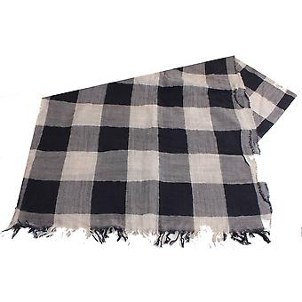 Bassin and Brown Meagan Check Wool Scarf - Beige/Black/Grey