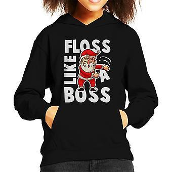 Floss Like A Boss Santa Christmas Slogan Kid's Hooded Sweatshirt