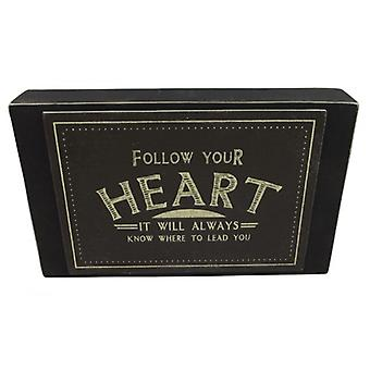 East of India Follow Your Heart Word Block Decoration