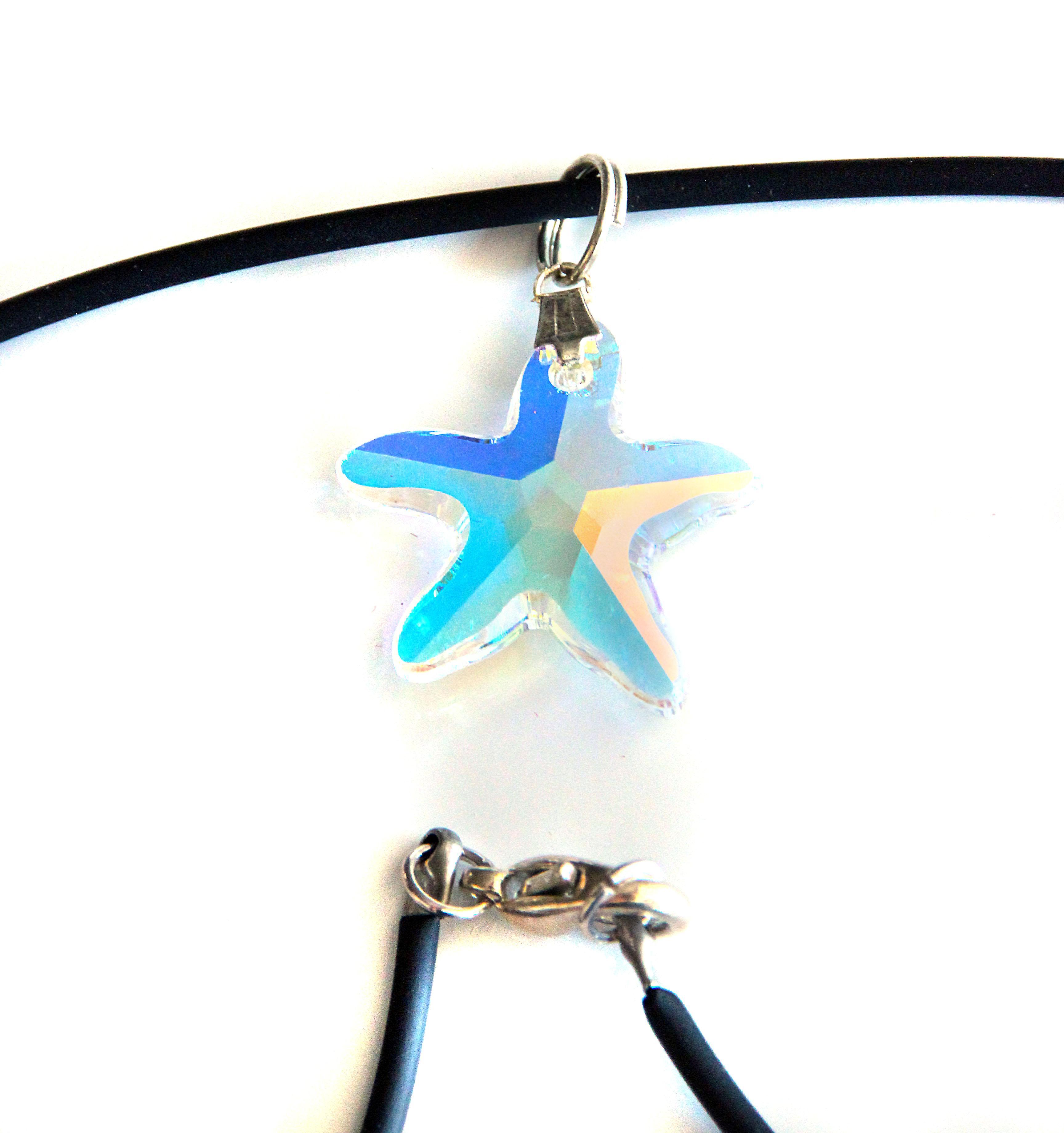 Waooh - Bijoux - Swarovski / Pendentif étoile nacré reflet bleu et cordon velour