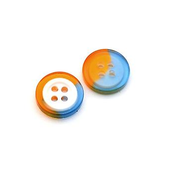 Packet 10 x Blue/Orange Resin 13mm Round 4-Holed Sew On Buttons HA10950