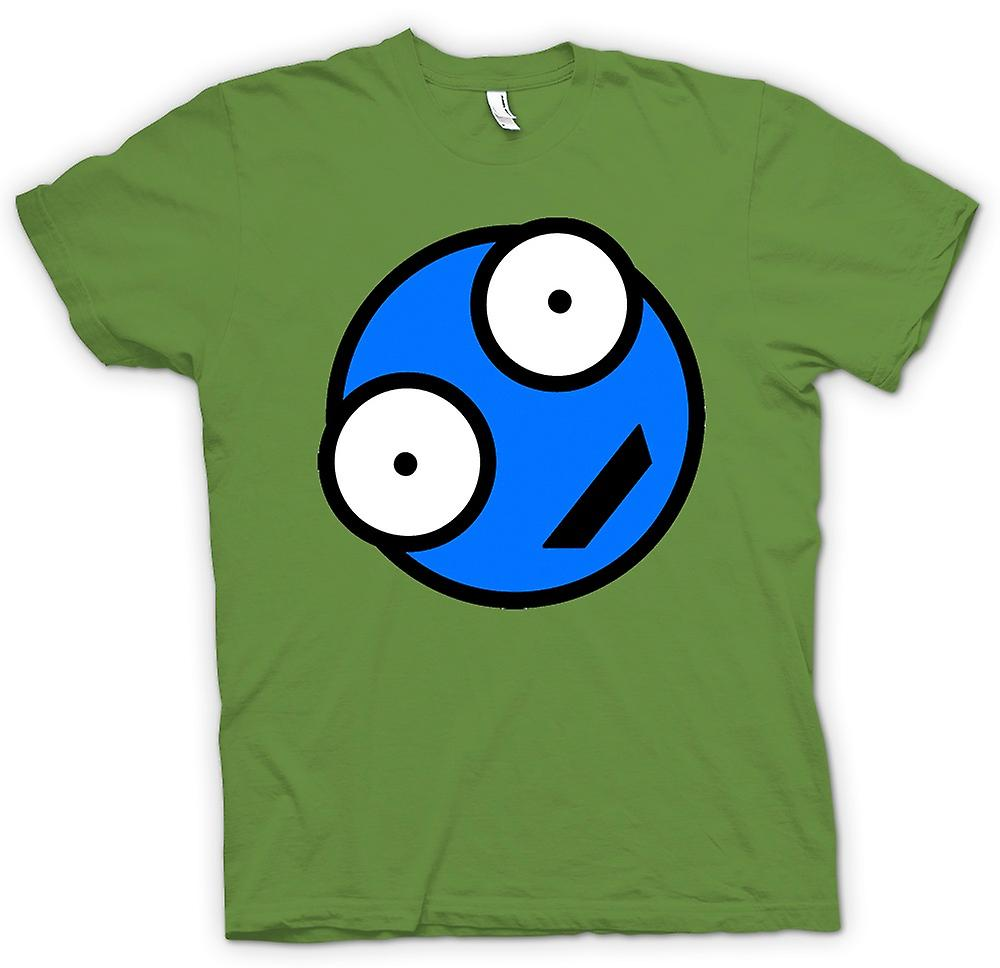 Mens-T-shirt - blau Smiley-Gesicht - lustig