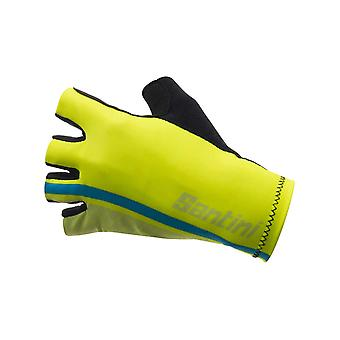 Santini Yellow 2018 Redux High Cuff Race Fingerless Cycling Gloves