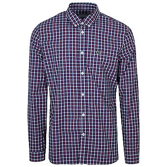 Lacoste Lacoste Regular Fitting Navy Long-Sleeved Check Shirt