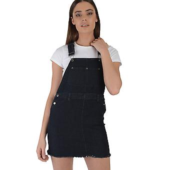 Lovemystyle Black Dungaree Dress Featuring Silver Hardware