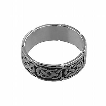 Silver oxidized 6mm Celtic Wedding Ring Size Q