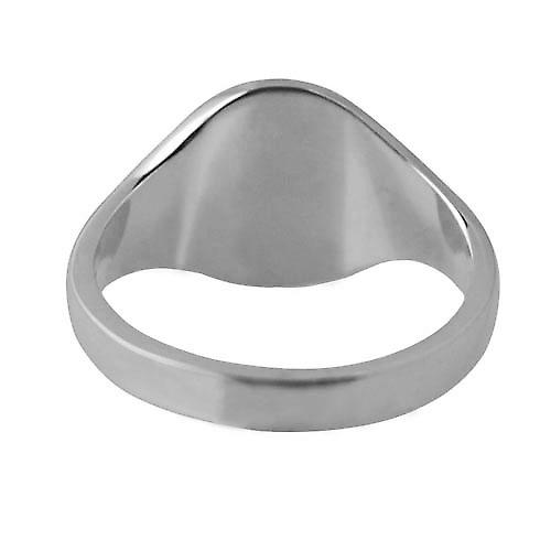 Platinum 950 14x12mm solid plain oval Signet Ring Size V