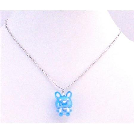 Bunny Rabbit Pendant Blue Enamel Pendant Silver Plated Chain Necklace