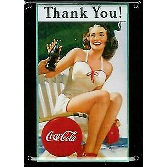 Coca Cola Thank You Metal Postcard / Mini Sign