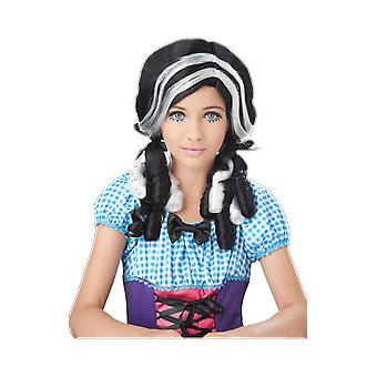 Womens Doll Black & White Wig Halloween Fancy Dress Costume Accessory