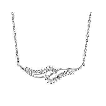 Ah! Jewellery Sterling Silver Curved Pendant Necklace With Clear Crystals From Swarovski