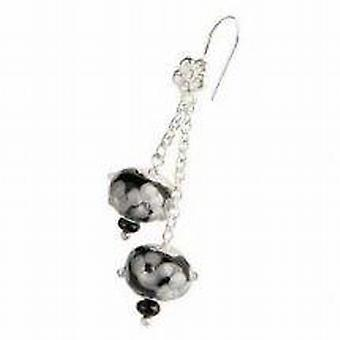 Toc Beadz Sterling Silver Black 10mm Bead Drop Earrings