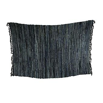 Blue Denim Rag Woven Cotton Fringed Throw Rug 72 x 48 inch