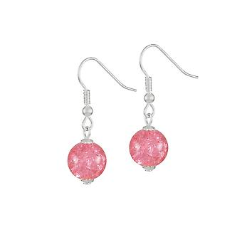 Eternal Collection Carnival Coral Pink Czech Glass Crackle Bead Silver Tone Drop Pierced Earrings