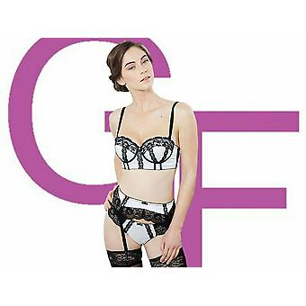 Guy de France Women's Claudine Ivory Black Satin and Lace Suspender Belt