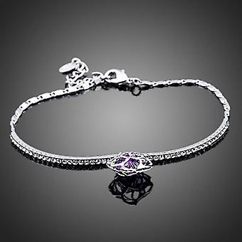 Platinum Plated Purple Swiss Cubic Zirconia Bracelet, 18cm