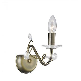 Diyas Willow Wall Lamp Without Shade 1 Light Antique Brass/Crystal