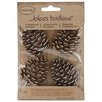 Jolee's Boutique Christmas Stickers Glittered Edge Pine Combs E5021016