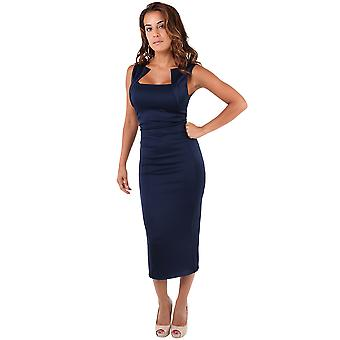 KRISP Women Panelled Square Neck Sexy Zip Back Bodycon Pencil Midi Dress Party Evening