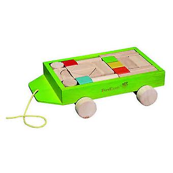 EverEarth - Wooden 24 Pieces Block Set With Pull Along Wagon Wooden Toy