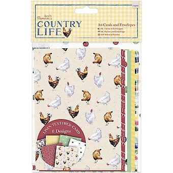 Papermania Country Life Cards/Envelopes A6 12/Pkg-Linen Finish PM150123