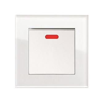 I LumoS AS Luxury White Crystal Glass  Single Switched 20A Cooker Switch